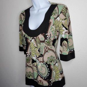 Green and Tan Stretch Floral Top Size Small
